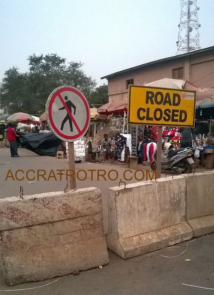 Accra circle trotro station road closed