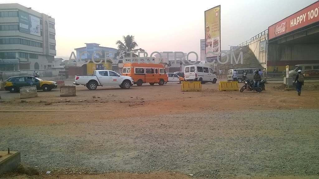 Accra trotro buses from Labadi detour at the Kwame Nkrumah Circle Interchnage