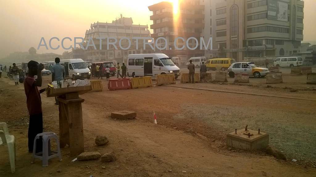 Trotro station in front of Fraga Oil Circle closed for road upgrade