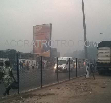Harmattan - seasonal fog - over Accra railways trotro sttion