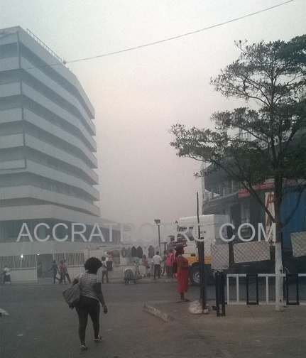Fog over Liberty Avenue GCB Bank at Accra Central